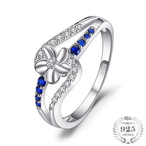 Created Sapphire Flower Ring 925 Sterling Silver Charm Fine Jewelry