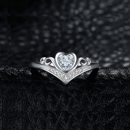 Heart Princess Crown Wedding Engagement Rings