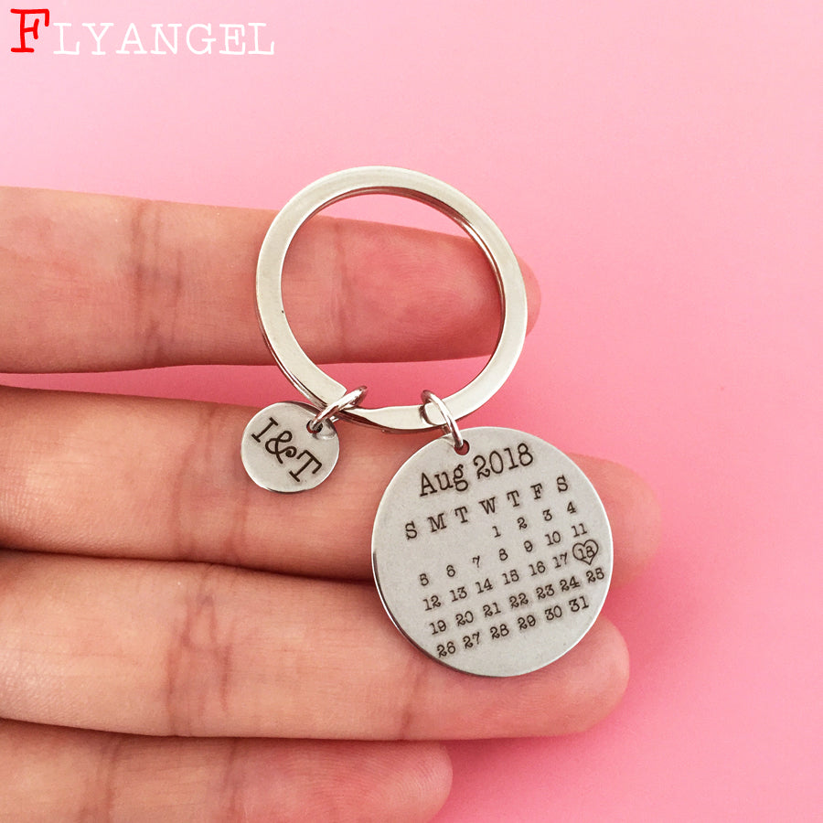 Customized Hand Stamped Calendar Keychain