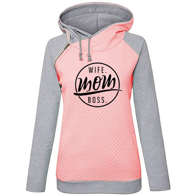 Wife Mom Fashion Funny Letters Print Hoodies