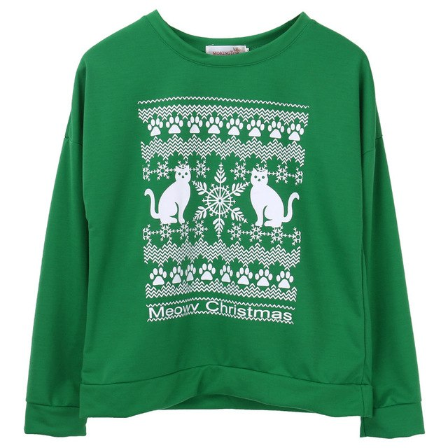 Women/Mens Winter Christmas Cat Sweatshirt