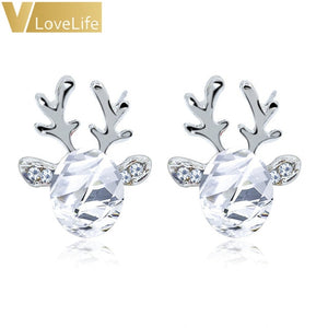 Women Xmas Gift Elegant Jewelry Christmas Pearl Deer Earrings