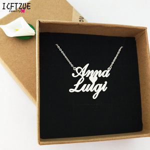 Custom Jewelry Any Personalized Double Name Necklaces Silver Gold Rose 18K