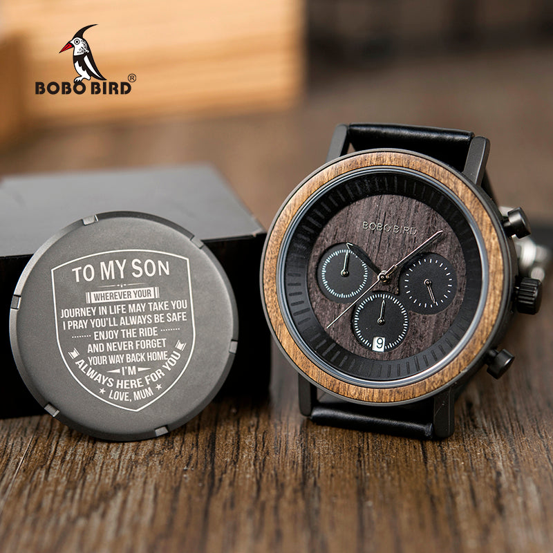 Men Luxury Custom Engraving Wooden Watches Timepieces for Man