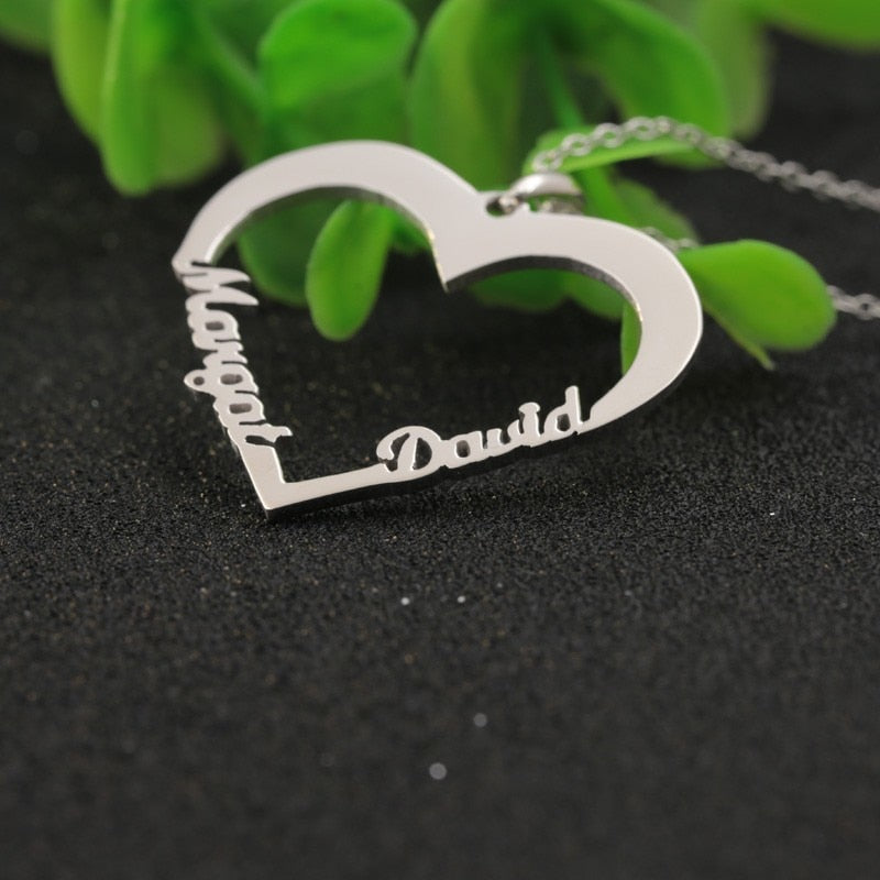 Personalized Heart Necklace Custom Double Name Jewelry Gold 18K
