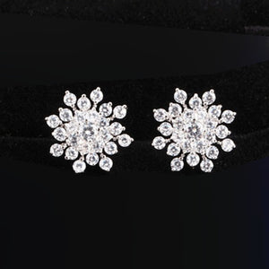 Sliver Snowflake Shape Stud Earrings For Women