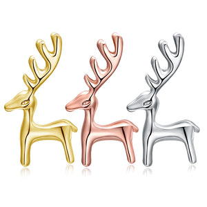 Xmas Reindeer Earring Christmas Party Stud Earrings Gold Silver Rosegold