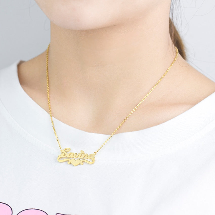 Custom Heart Name Necklace Personalized Jewelry Gold 18K