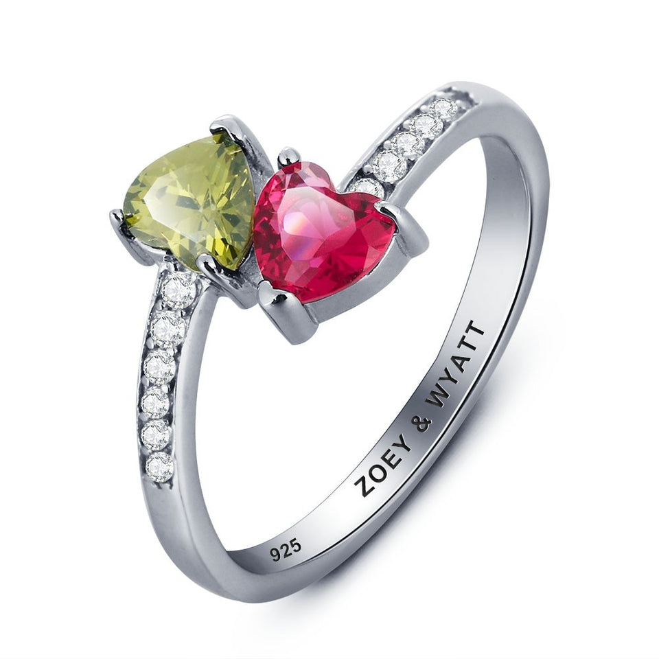Personalized Heart Birthstone Promise Ring 925 Sterling Silver Cubic Zirconia Ring