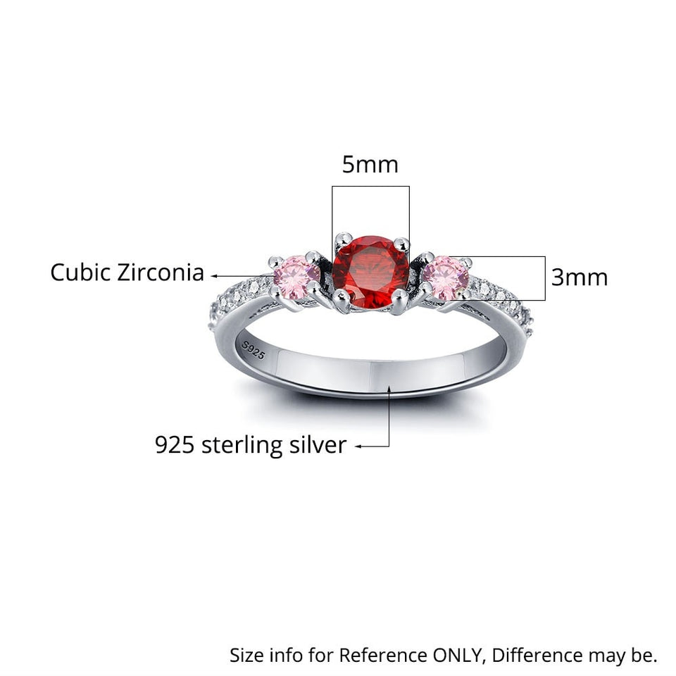 Personalized Jewelry Engrave Names Birthstone Ring  925 Sterling Silver