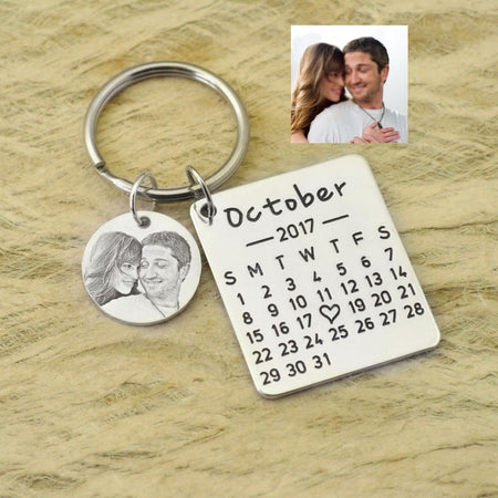 Personalized Calendar Keychain - Customize Special Day & Photo