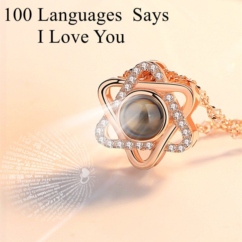 Valentine's Gift 100 Languages Says I love You Star Necklace