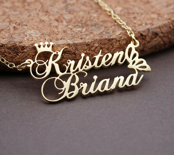 Custom Crown Double Name Necklace Personalized Gold Color Butterfly Pendant Necklace 18K
