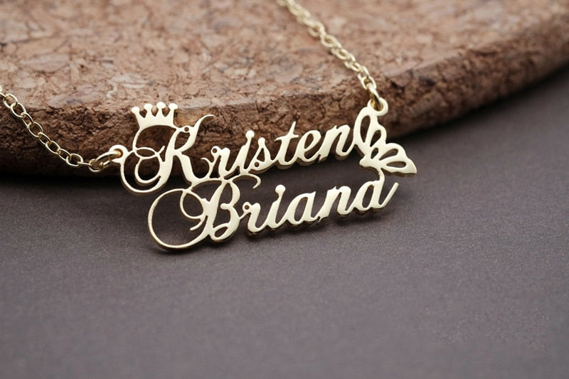 Custom Crown Double Name Necklace Personalized Gold Color