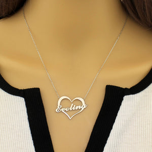 Custom Name Heart Necklace Personalized Silver/ Gold 18K