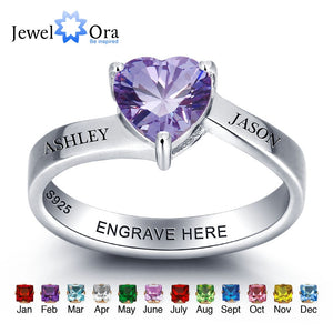 Personalized 925 Sterling Silver Heart Birthstone Customize Name Ring