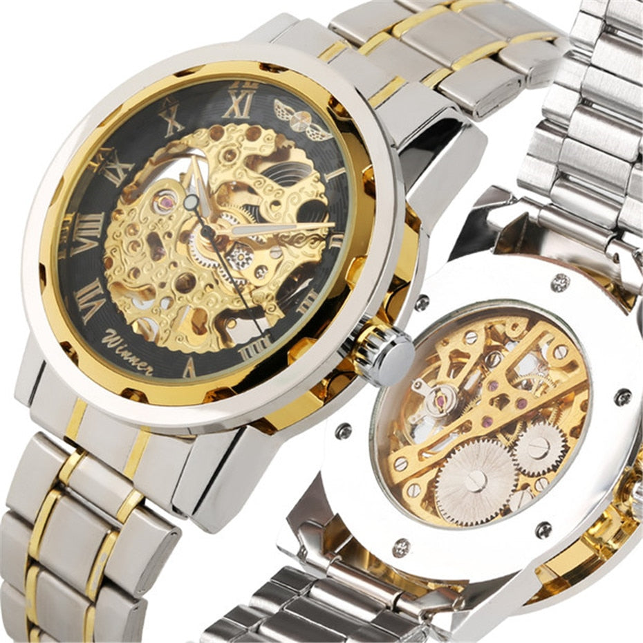 Gold Skeleton Mechaincal Watches Men Stainless Steel Band Man - Father's Gift