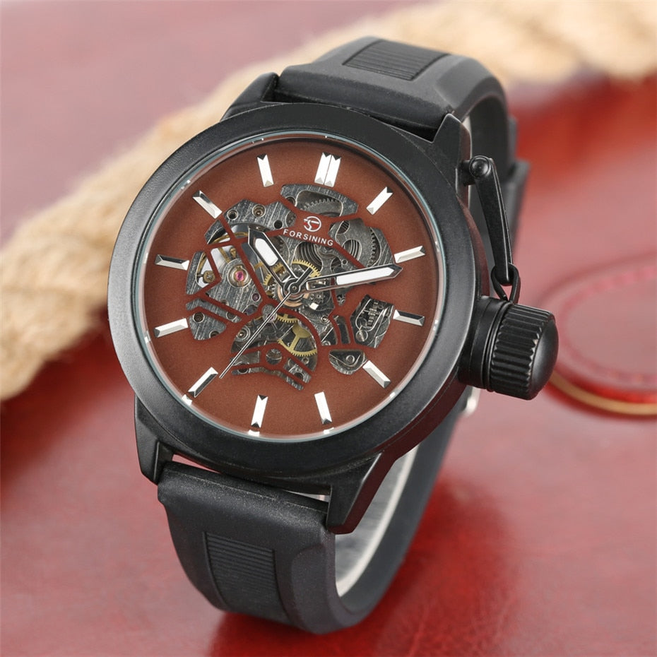 Men's Watches Black/Brown Skeleton Dial Silicone Band Male Timepieces