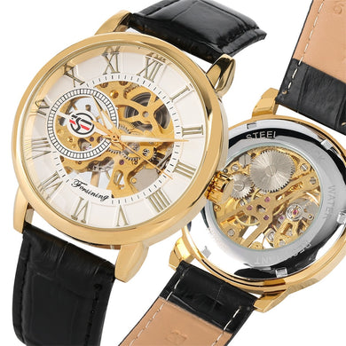 Men's Watches Gold Black Leather Band Automatic - Gift For Man