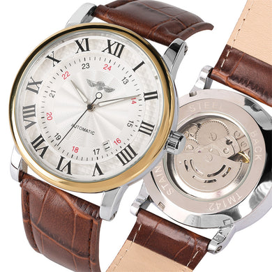 Men's Watches Silver Brown Leather Band Automatic - Gift For Man