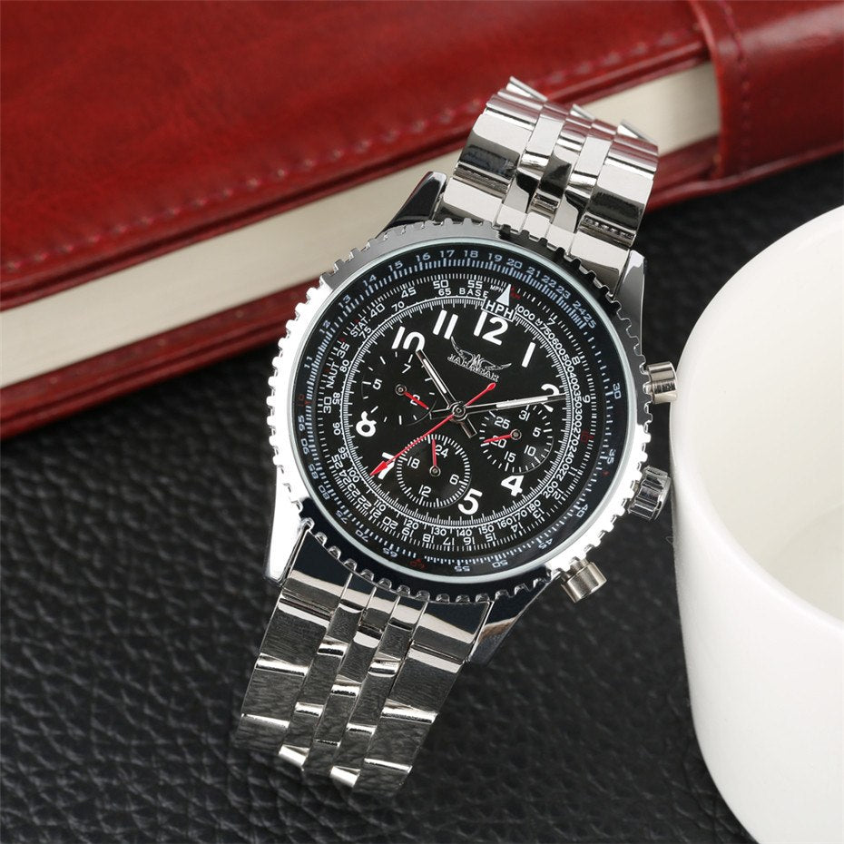 Silver Stainless Steel Band Mens Watches Automatic Mechanical - Gift For Man