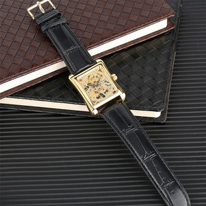 Top Brand 2019 Luxury Mechanical Watches Men - Men's Watches Gold Black Leather Band Automatic - Gift For Man