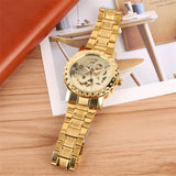Men's Watches Gold Stainless Steel Band Automatic - Gift For Man