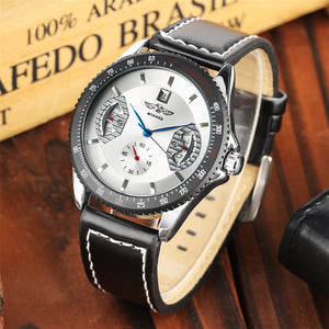 Top Brand 2019 Luxury Mechanical Watches Men - Men's Watches Silver Black Leather Band Automatic - Gift For Man