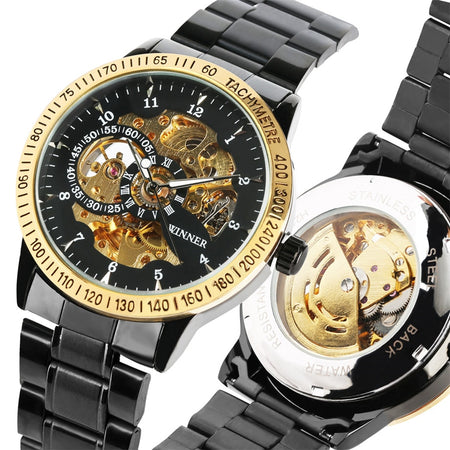 Men's Watches Black Stainless Steel Band Automatic - Gift For Man