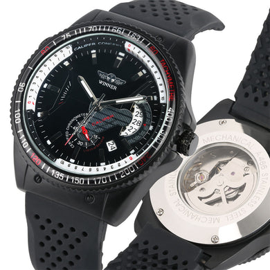 Men's Watches Silver Black Silicone Band Automatic - Gift For Man