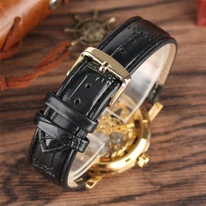 Men's Watches Silver Black Leather Band Automatic - Gift For Man