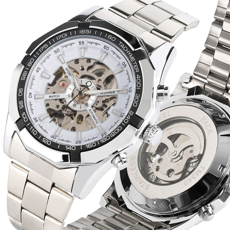 Men's Watch Skeleton Silver Stainless Steel Band - Automatic Self-Wind Mechanical Watches