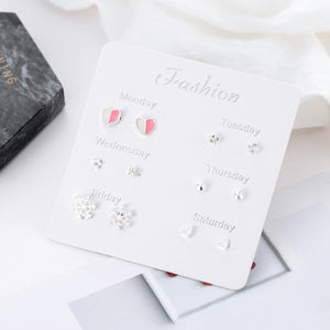 One Week Earrings Women A Set of 6 Pairs Silver 925