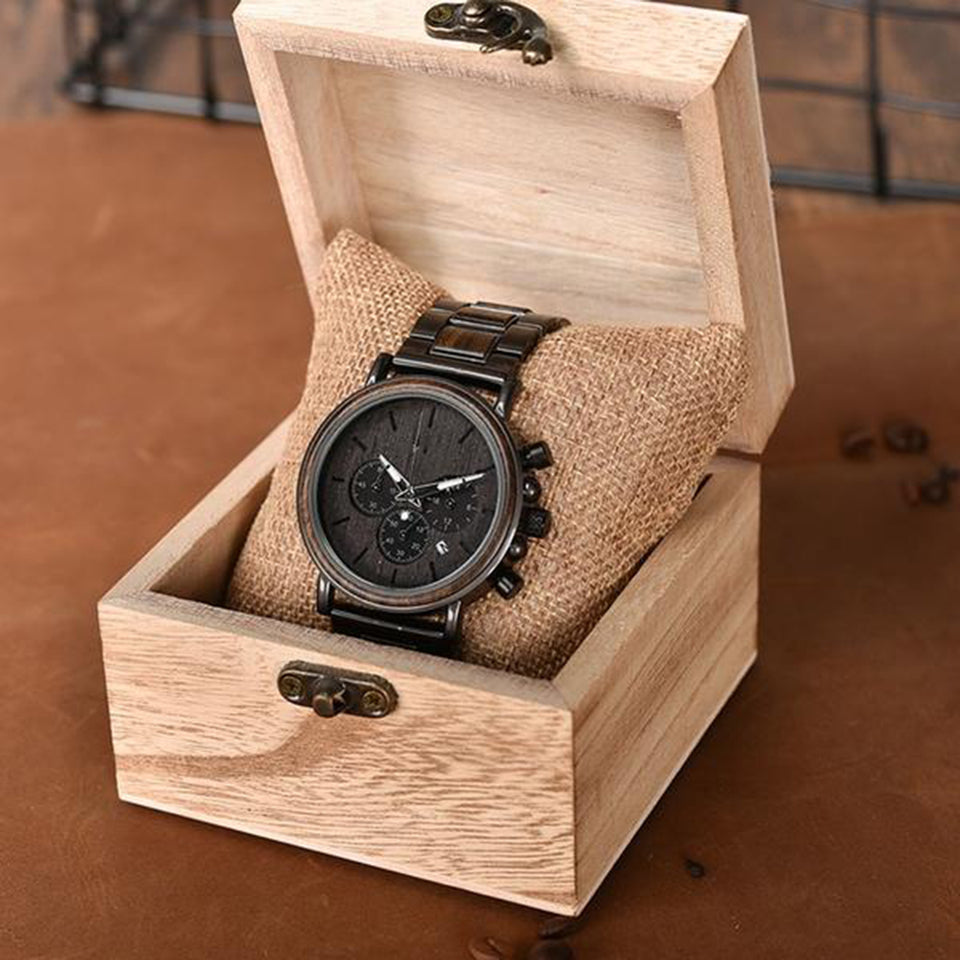 Luxury Watch Wooden Stainless Steel Quartz Wristwatches with Calendar