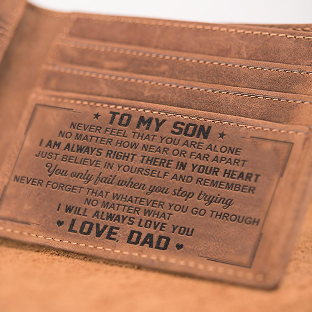 To My Son Leather Wallet - DAD, MOM