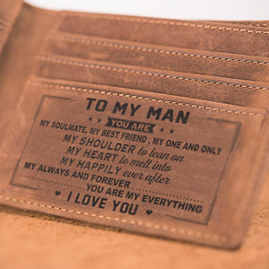 To My Man Leather Wallet