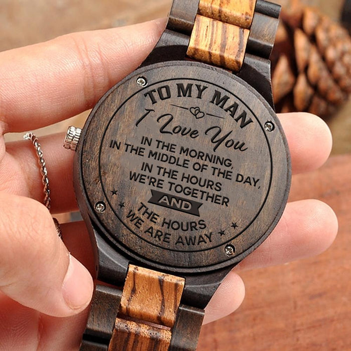 ENGRAVED WOODEN WATCH - GREAT GIFT FOR MAN