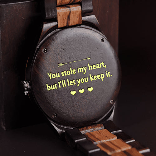 ENGRAVED WOODEN WATCH - GREAT GIFT FOR MAN/HUSBAND