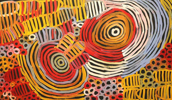 Awelye - Women's CeremonyOriginal Aboriginal PaintingMinnie Pwerle (1910-2006)Boomerang Art