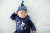 "Blue Gingham Delivery Robe & Navy "" Hello I'm new here"" Baby Gown Set"