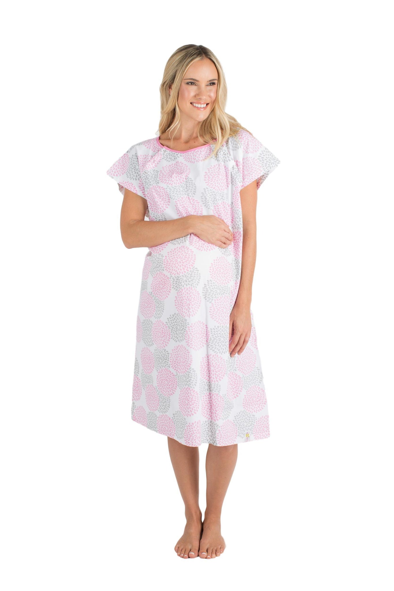 Lilly Gownies: Designer Hospital Maternity Gowns Pink Grey Floral