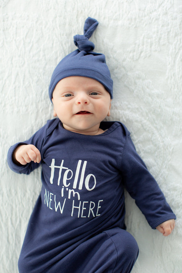 Hello I'm New Here! Navy Blue Receiving Newborn Gown and Hat Set