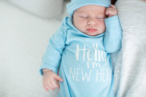Hello I'm New Here! Light Blue Baby Newborn Receiving Gown and Hat Set