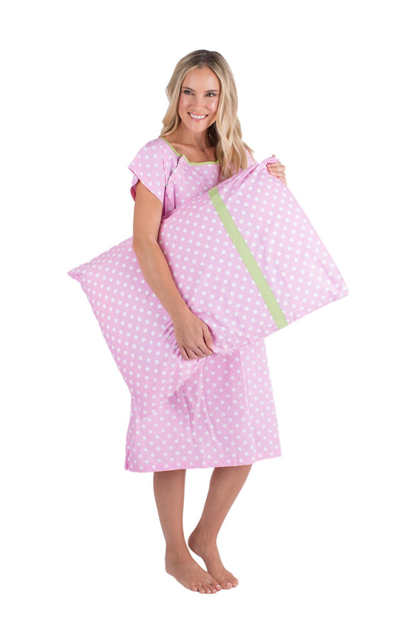 Molly Gownie & Pillowcase Set Maternity Delivery Labor Hospital Gown Pink Dotted