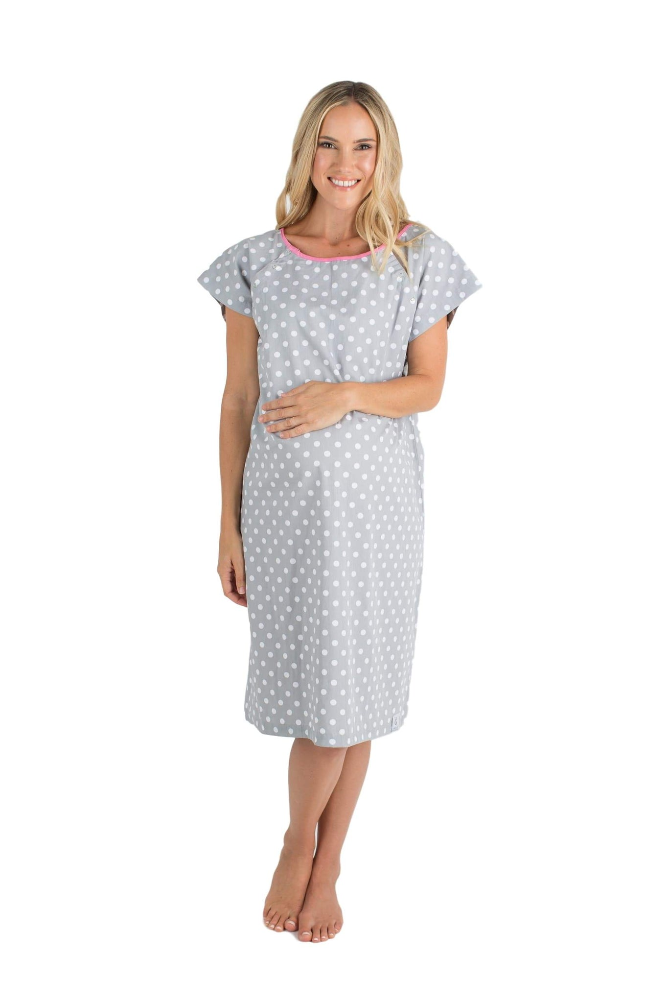 4f78d51cf3a6a Lisa Grey Dotted Gownies: Designer Maternity Delivery Labor Hospital ...
