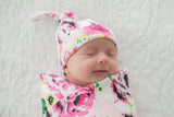 Amelia Floral Swaddle Blanket & Matching Newborn Hat Set