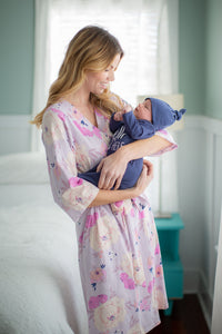 "Anais Delivery Robe & Navy "" Hello I'm new here"" Baby Gown Set"