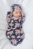 Eve Floral Maternity Nursing Nightgown & Delivery Robe & Baby Going Home Outfit 4 piece Set