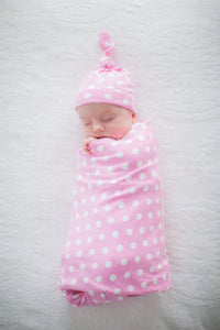 Molly Pink Dotted Swaddle Blanket and Matching Newborn Hat Set