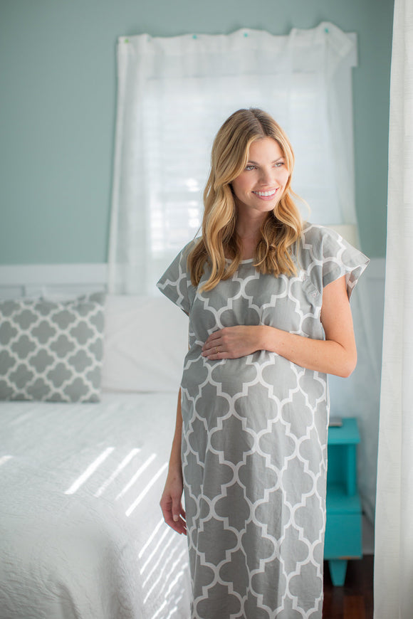 Phoebe Gownie Maternity Delivery Labor Hospital Birthing Gown Grey